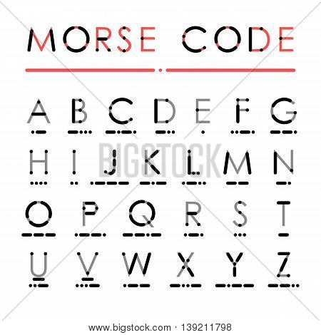Latin alphabet in international Morse Code. Visual presentation of use dots and dashes for easy learning. Grey letters and black symbols isolated on white background.