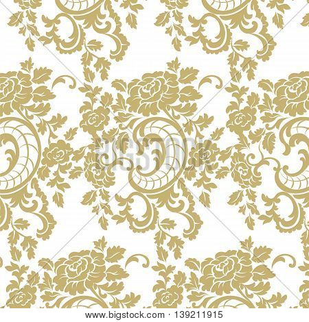 Vector Baroque floral damask pattern background. Luxury classic floral damask ornament royal Victorian vintage texture for textile fabric