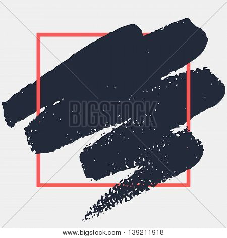 Abstract handdrawn background. Hand painted ink black smear with rough edges and red geometric thin square frame isolated on grey backdrop. Empty trendy template - Vector illustration