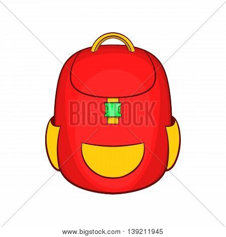 Red backpack icon in cartoon style on a white background