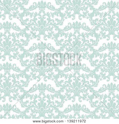 Vector Baroque pattern with Damask ornament. Vintage element. Ornamental floral decor. Blue color ornament
