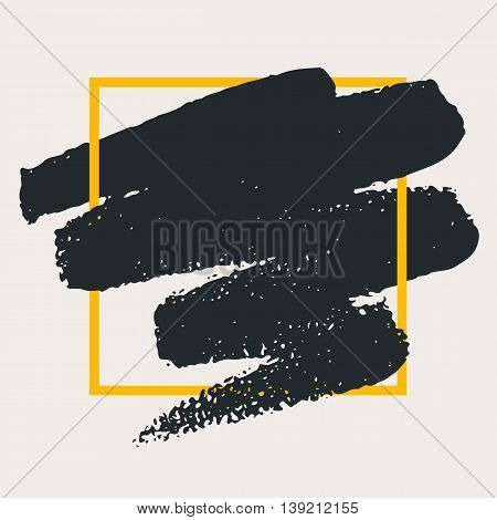 Abstract handdrawn background. Hand painted ink black smear with rough edges and yellow geometric thin square frame isolated on grey backdrop. Empty trendy template - Vector illustration