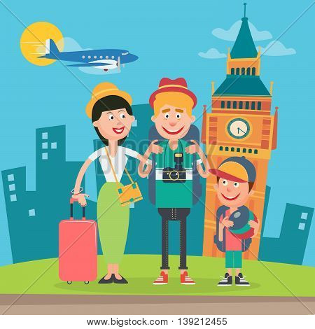 Happy Family Travelling by Plane to England. Father, Mother and Son in London. Vector illustration