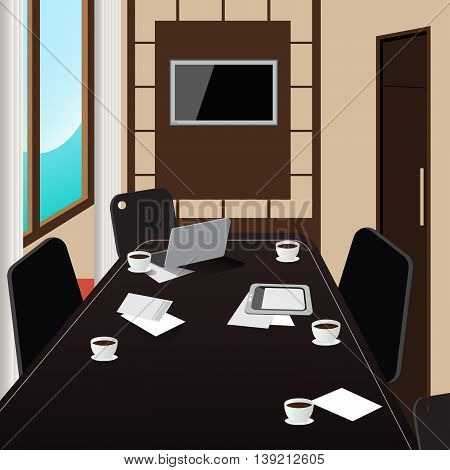 Conference Room Interior with Table, Tablet and Laptop. Vector illustration