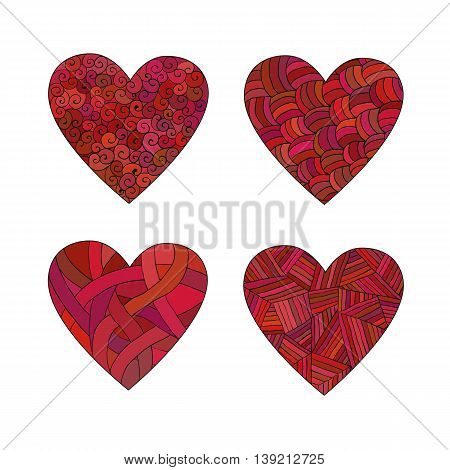 Set of isolated vector doodle pink hearts with different patterns. Decorative hand-drawing elements.