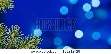 Blue Christmas Background with Christmas Twig and Unfocused Lights