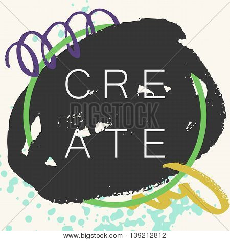Abstract handdrawn background. Colorful trendy textured ink shapes with rough edges and geometric thin circle frame on grey backdrop. Empty hand painted grungy template - Vector illustration