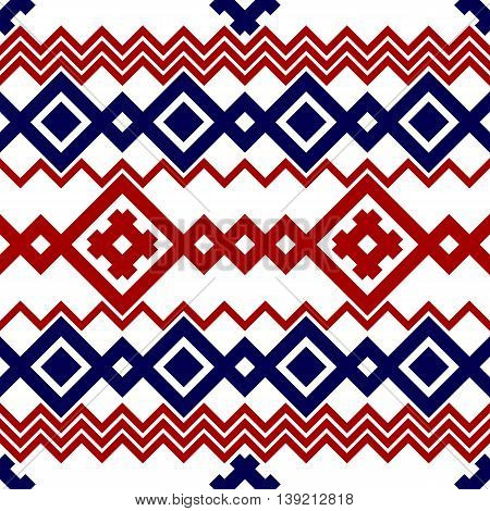 Embroidery or knit russian and ukrainian national seamless pattern