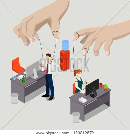 Isometric People Office Puppets, Controlled Workers. Vector illustration