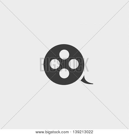 Film reel icon in a flat design in black color. Vector illustration eps10