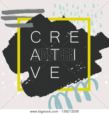 Abstract handdrawn background. Colorful trendy textured ink shapes with rough edges and geometric thin square frame on grey backdrop. Empty hand painted grungy template - Vector illustration