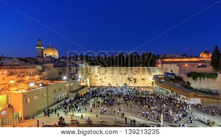Jerusalem, Israel - July 01, 2016: The Time Of Shabbat Prayer Near The Western Wall