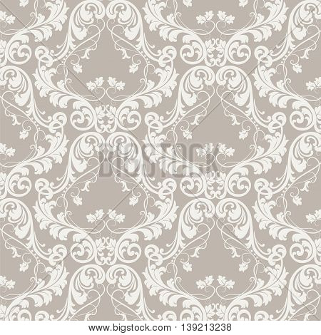 Vector Baroque Vintage floral damask pattern element background. Luxury Classic Damask ornament royal Victorian texture for textile fabric