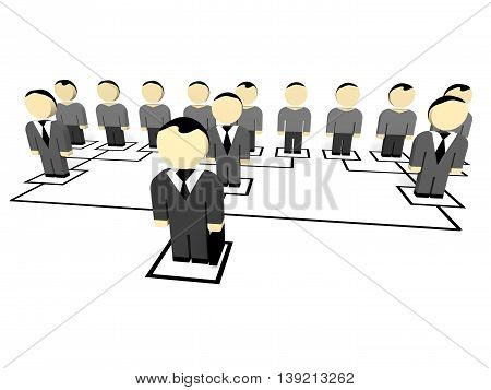3D business people on white background. Leader. 3D illustration.
