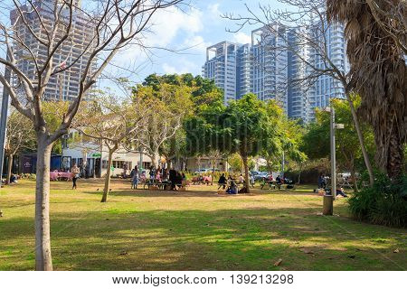 Tel-aviv, Israel - January 22, 2016: Park In Sarona At Winter
