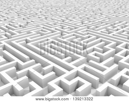 White endless maze. 3D illustration. Perspective view.