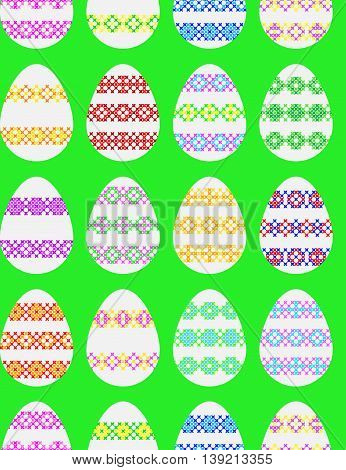 Seamless texture of Easter eggs decorated with embroidery abstract patterns on canvas