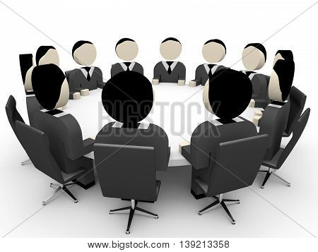3D business people on white background. Meeting. 3D illustration.