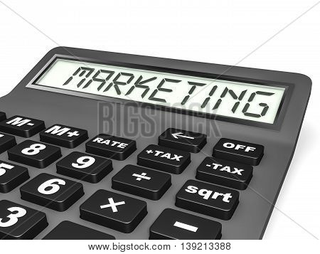 Calculator With Marketing On Display.