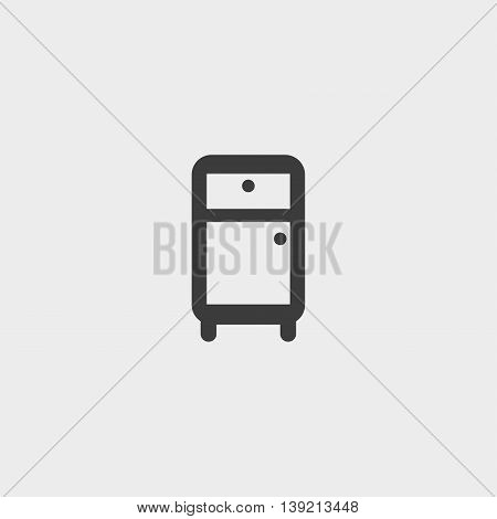 Refrigerator icon in a flat design in black color. Vector illustration eps10