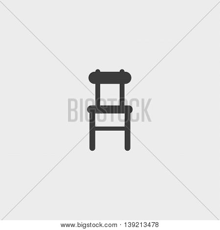 Chair icon in a flat design in black color. Vector illustration eps10