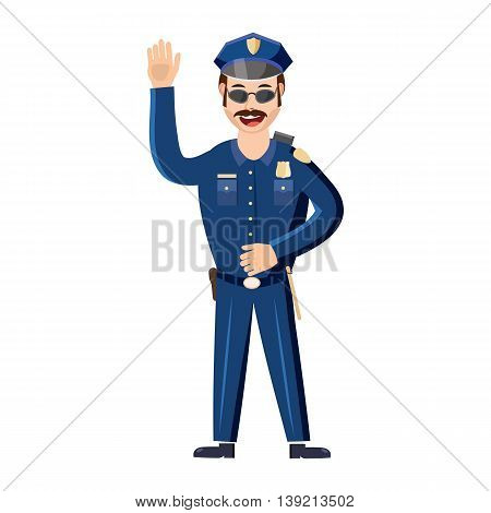 Policeman icon in cartoon style on a white background