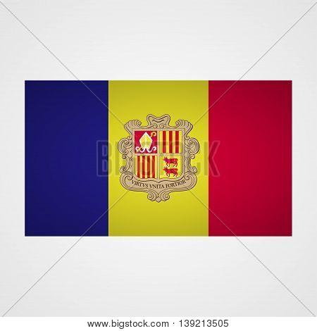 Andorra flag on a gray background. Vector illustration