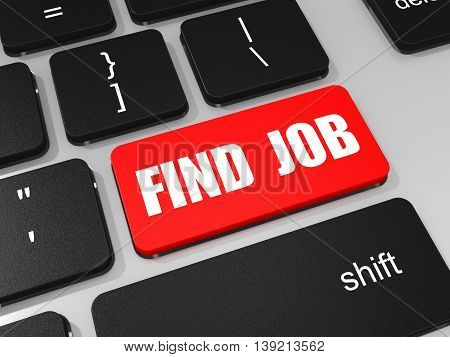 Find Job Key On Keyboard Of Laptop Computer.