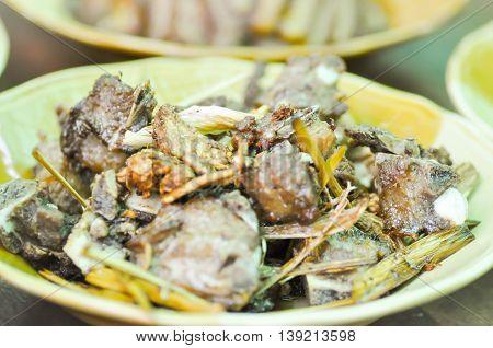 fried pork rib with lemon grass dish