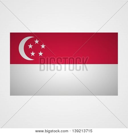 Singapore flag on a gray background. Vector illustration