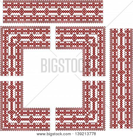 Set of frame elements for russian, ukrainian and scandinavian national knit styled border, traditional red color.