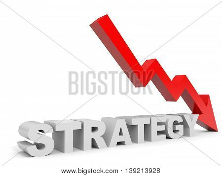 Graph down strategy arrow on white background. 3D illustration.