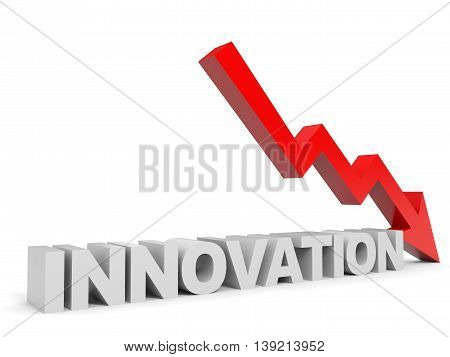 Graph down innovation arrow on white background. 3D illustration.