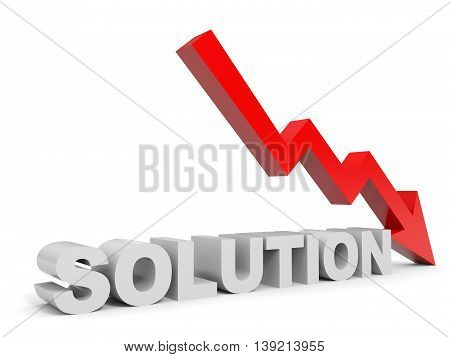 Graph down solution arrow on white background. 3D illustration.