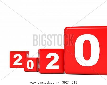 2020 New Year cubes on white background. 3D illustration.
