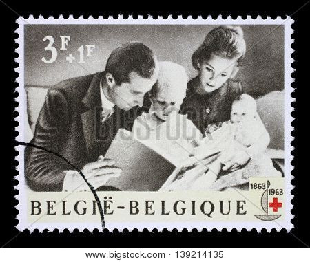 ZAGREB, CROATIA - JULY 03: A stamp printed in Belgium is dedicated to the 100th anniversary of the International Red Cross, circa 1963, on July 03, 2014, Zagreb, Croatia