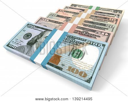 Different dollar bank notes on white background. 3D illustration.