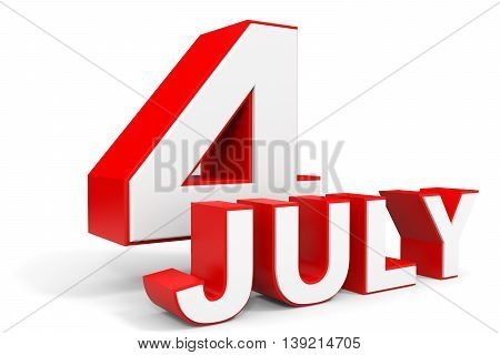July 4. 3D Text On White Background.