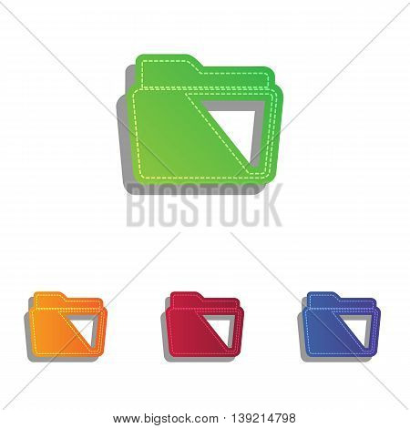Folder sign illustration. Colorfull applique icons set.