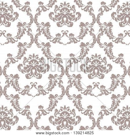 Vector Baroque floral Damask ornament pattern element. Elegant luxury texture for textile fabrics or backgrounds. Taupe color ornament