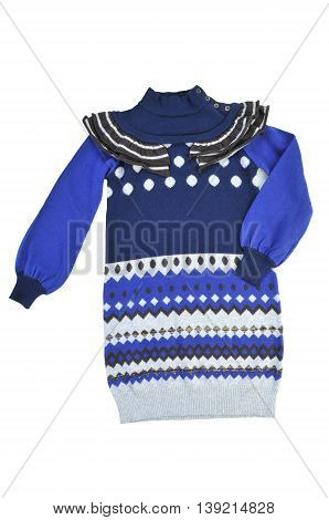knitted sweater-dress for girls on a white background