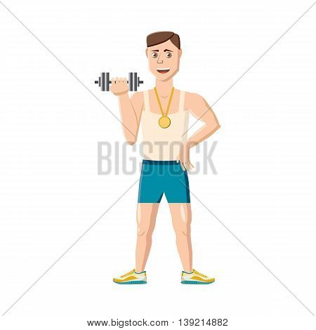Athlete with dumbbell icon in cartoon style on a white background