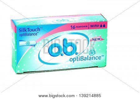 KIEV UKRAINE - June 06 2011. Illustrative editorial photo - women's hygiene tampons -