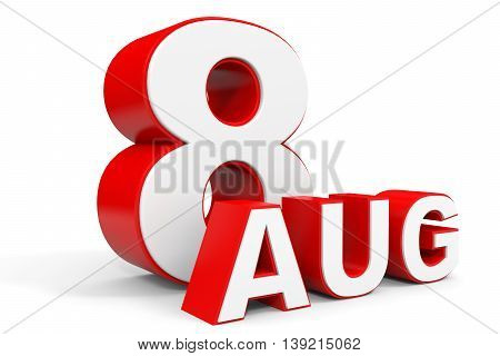 August 8. 3D Text On White Background.