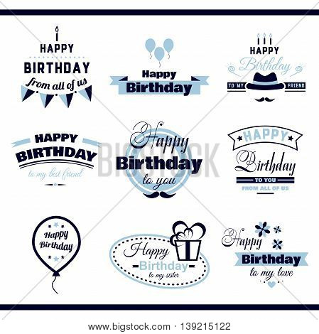Collection of monochrome labels with congratulation on white background. Happy Birthday to you. Vector illustration.