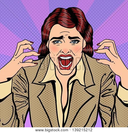 Frustrated Stressed Business Woman Screaming. Pop Art. Vector illustration