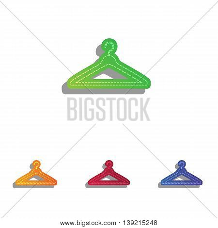 Hanger sign illustration. Colorfull applique icons set.