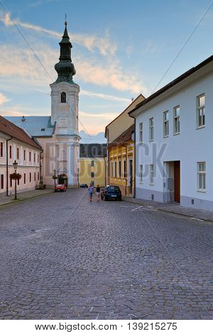 NITRA, SLOVAKIA - JULY 02, 2016: Architecture of the old town of Nitra on July 02, 2016.