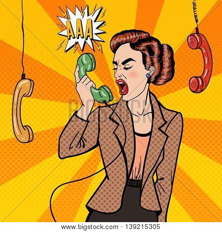 Aggressive Business Woman Screaming into the Phone. Pop Art. Vector illustration