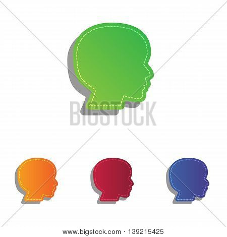 People head sign. Colorfull applique icons set.